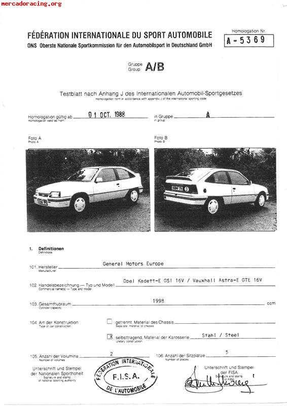 Ficha Fia De Homologacion Ford Escort Mk2
